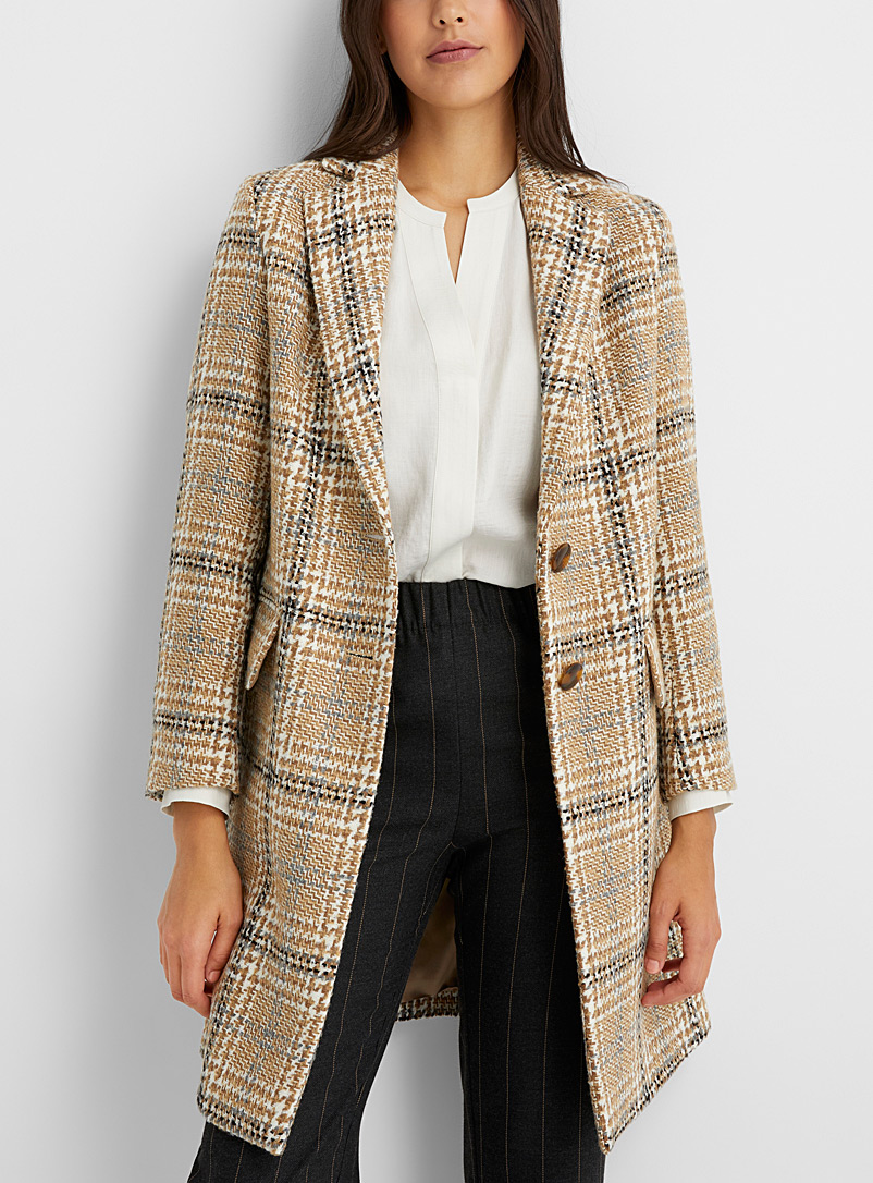 Sisley Patterned Ecru Caramel plaid tweed coat for women