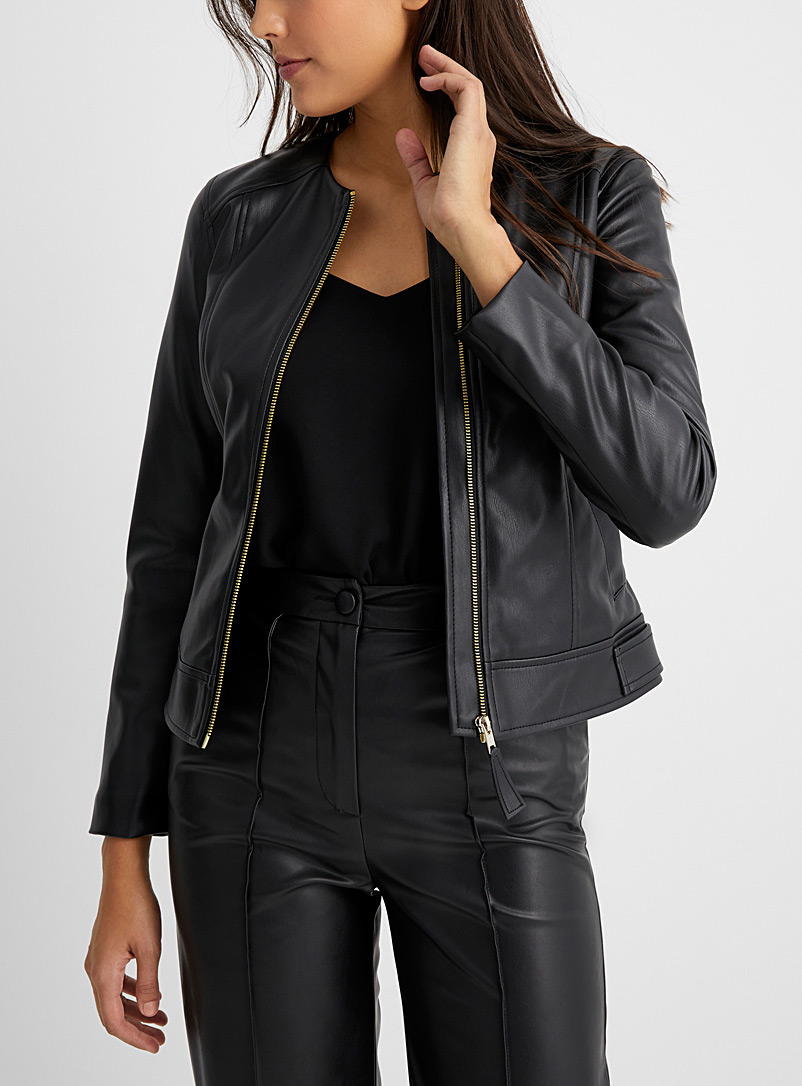 Gold zip faux-leather jacket