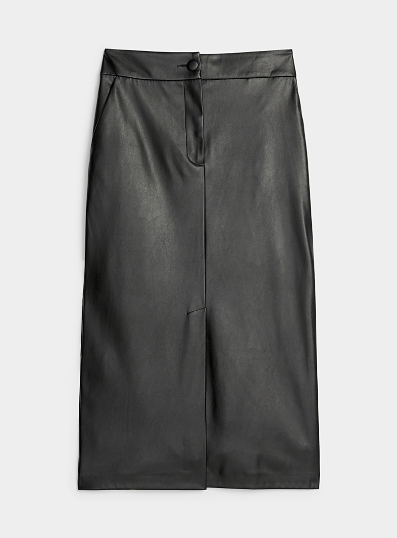 Sisley Black Faux-leather pencil skirt for women