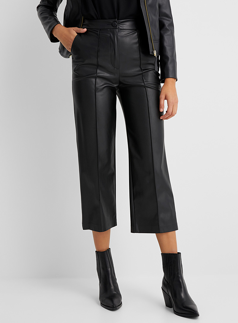 Sisley Black Faux-leather cropped pant for women