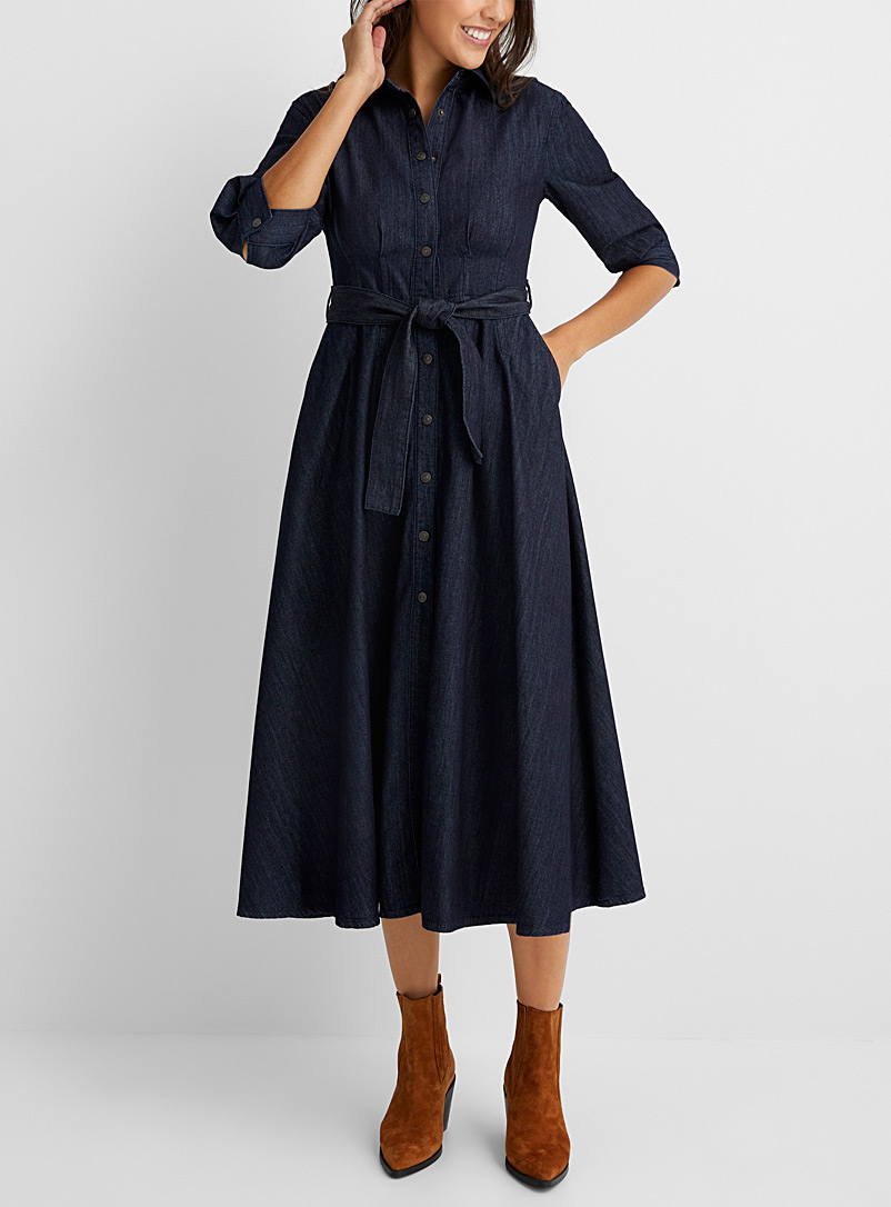 Sisley Marine Blue Belted denim shirtdress for women