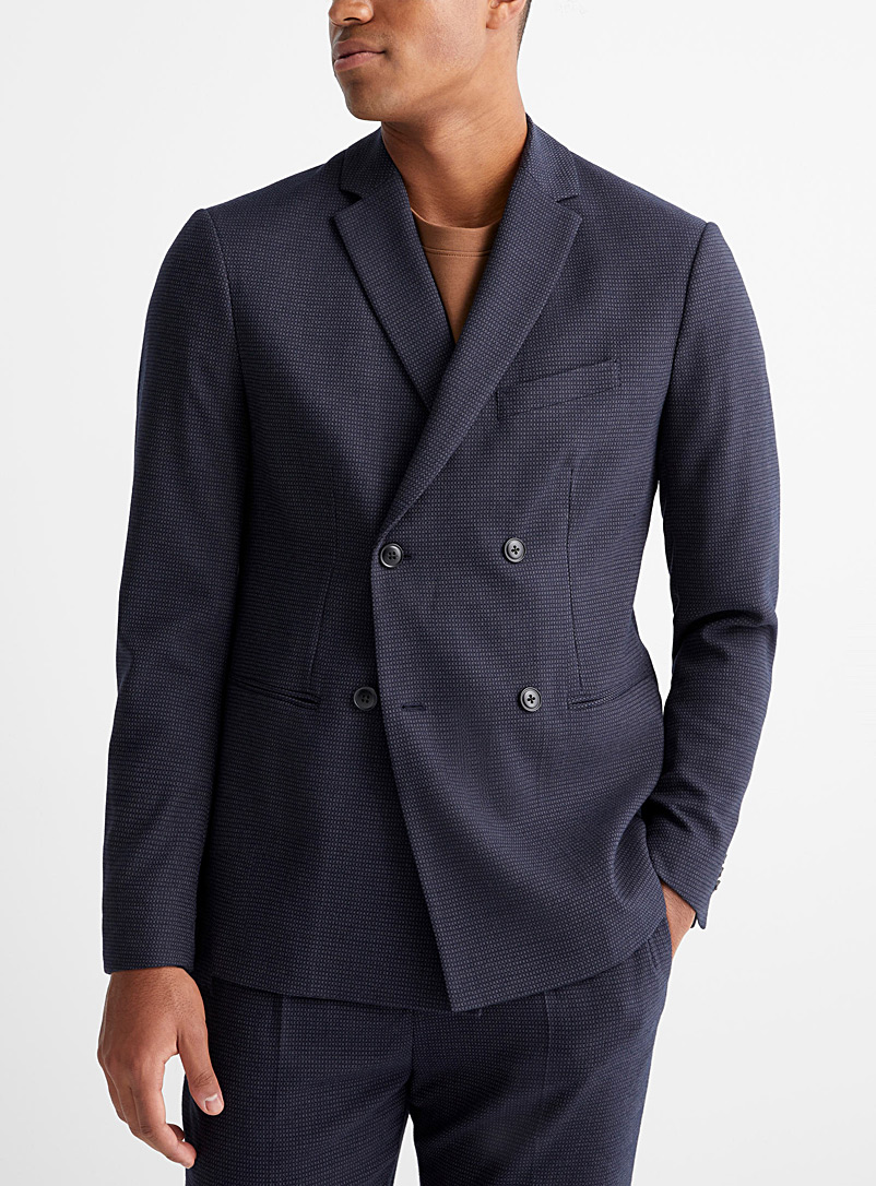 Sisley Blue Double-breasted jacquard check jacket  Semi-slim fit for men