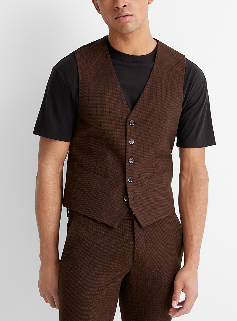 Brown jacquard vest  Slim fit