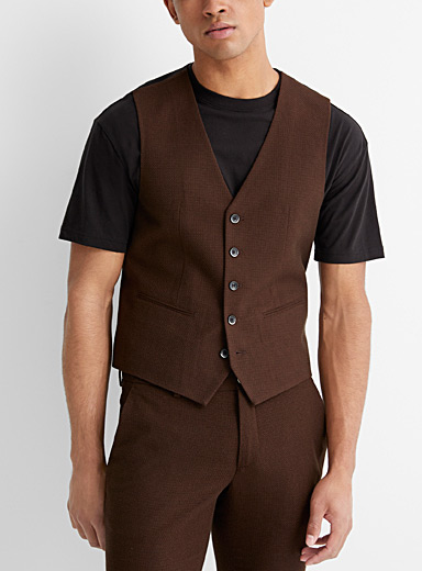 Sisley Brown Brown jacquard vest  Slim fit for men
