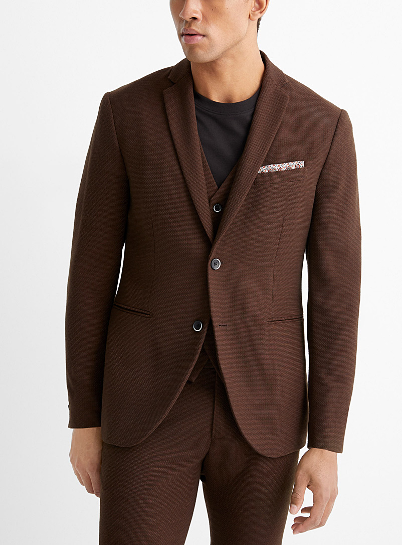 Sisley Brown Brown jacquard jacket  Slim fit for men