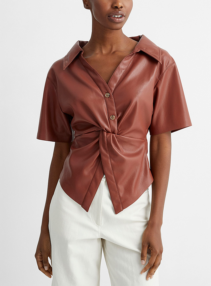 Nanushka Copper Thora vegan leather twisted blouse for women