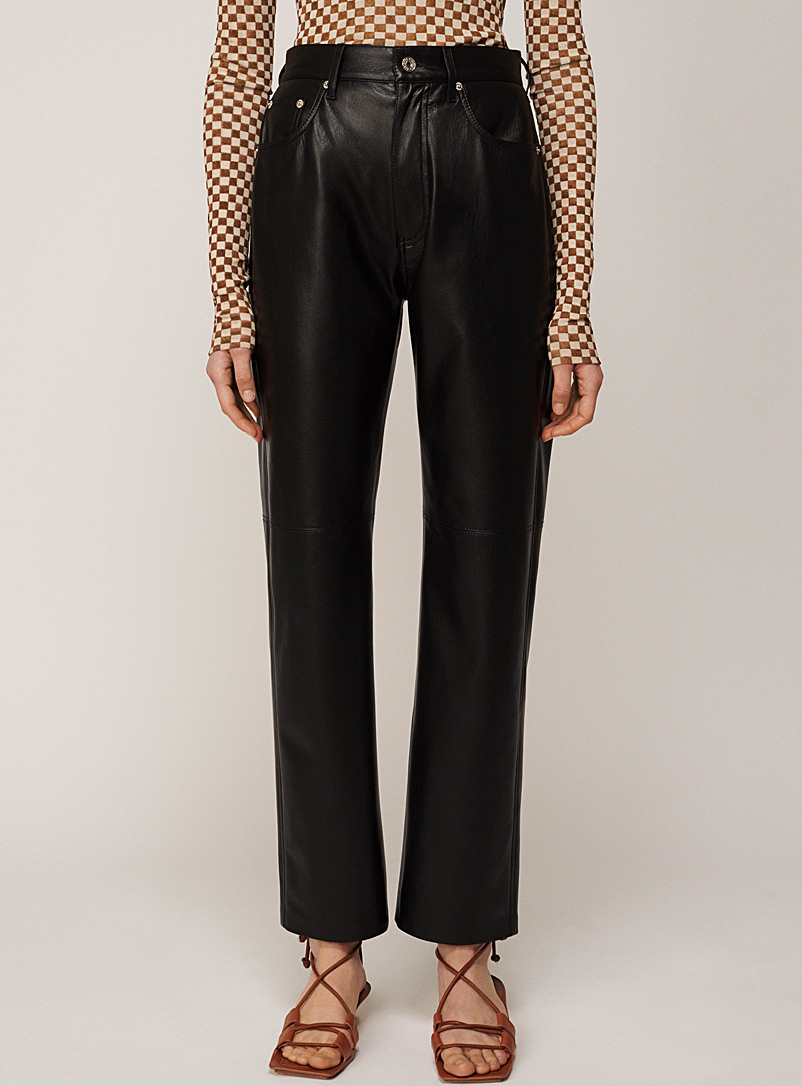 Nanushka Black Vinni faux-leather pant for women