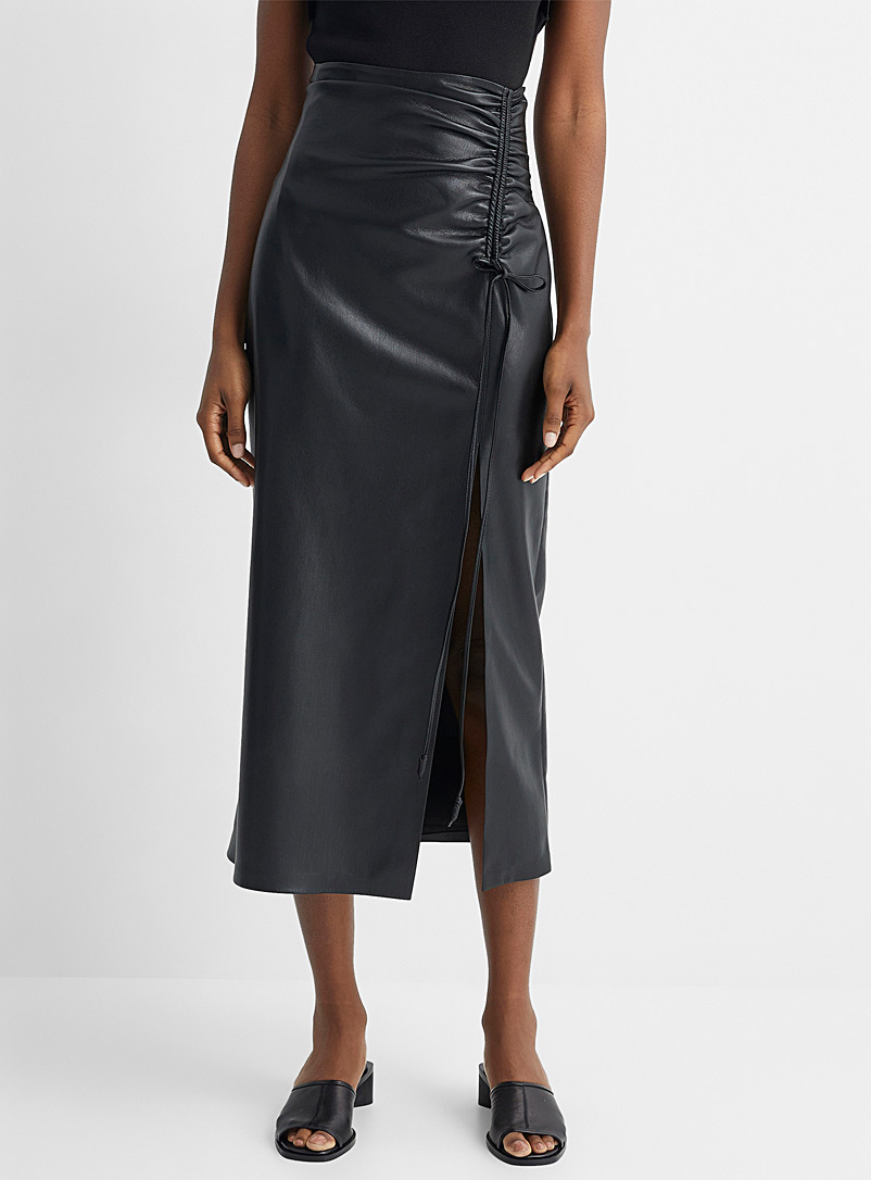Nanushka Black Vegan leather pleated Malorie skirt for women