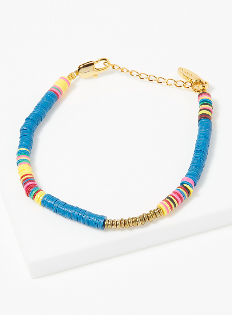 All the Must Blue Heishi recycled discs bracelet for women