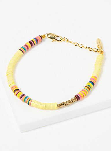 All the Must Assorted yellow Heishi recycled discs bracelet for women