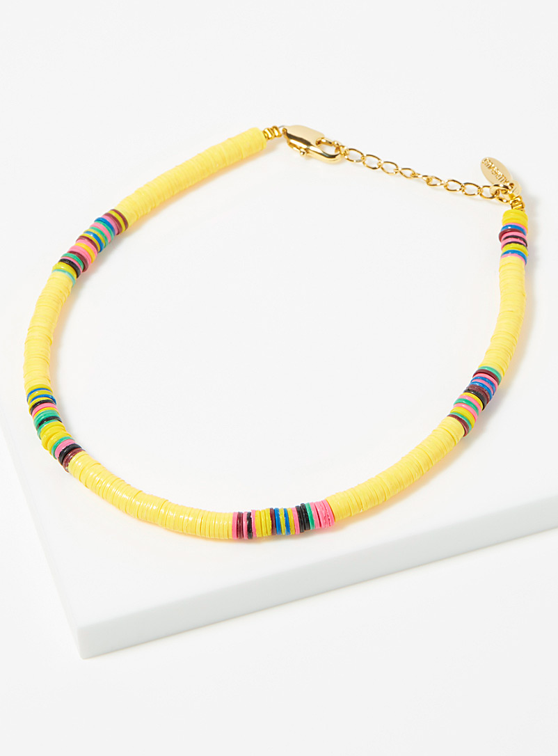 All the Must Assorted yellow Heishi recycled discs anklet for women