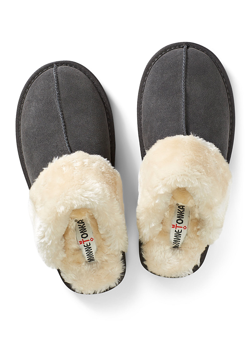 Minnetonka Light Grey Chesney mule slippers for women