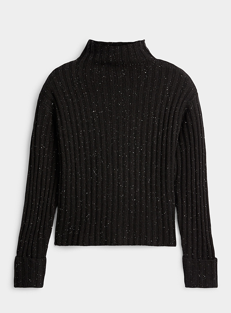 Ic?ne Black Ribbed mock-neck sweater for women