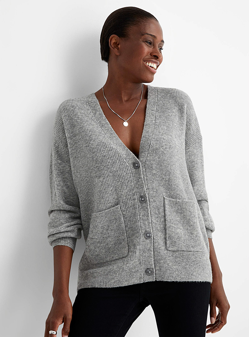 Contemporaine Charcoal Loose brushed V-neck cardigan for women
