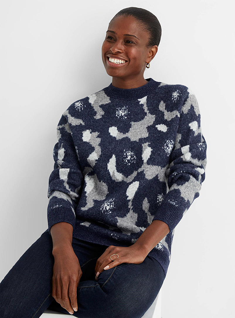 Contemporaine Marine Blue Floral jacquard brushed sweater for women