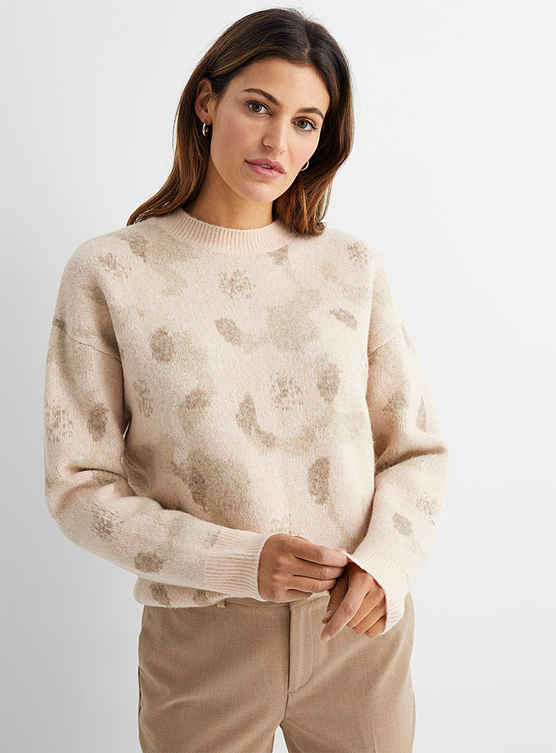 Contemporaine Pink Floral jacquard brushed sweater for women