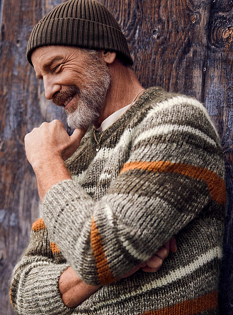 Le 31 Mossy Green Intarsia knit sweater for men