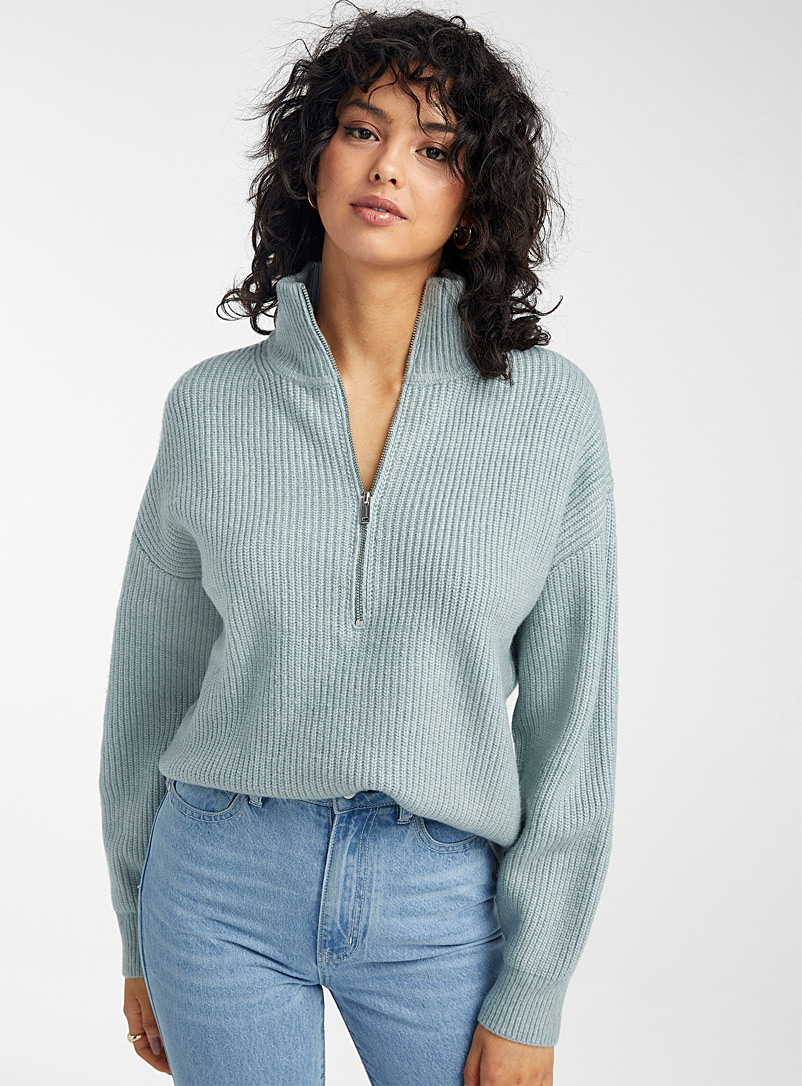 Icône Lime Green Half-zip ribbed sweater for women