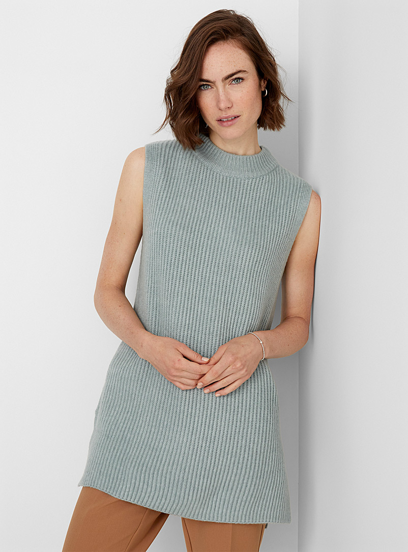 Contemporaine Lime Green Long brushed ribbed sweater vest for women