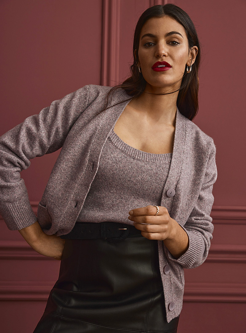 Contemporaine Pink Buttoned knit cardigan for women