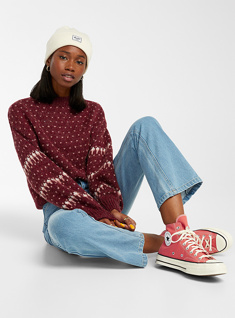 Twik Patterned Red Dotted wool knit sweater for women