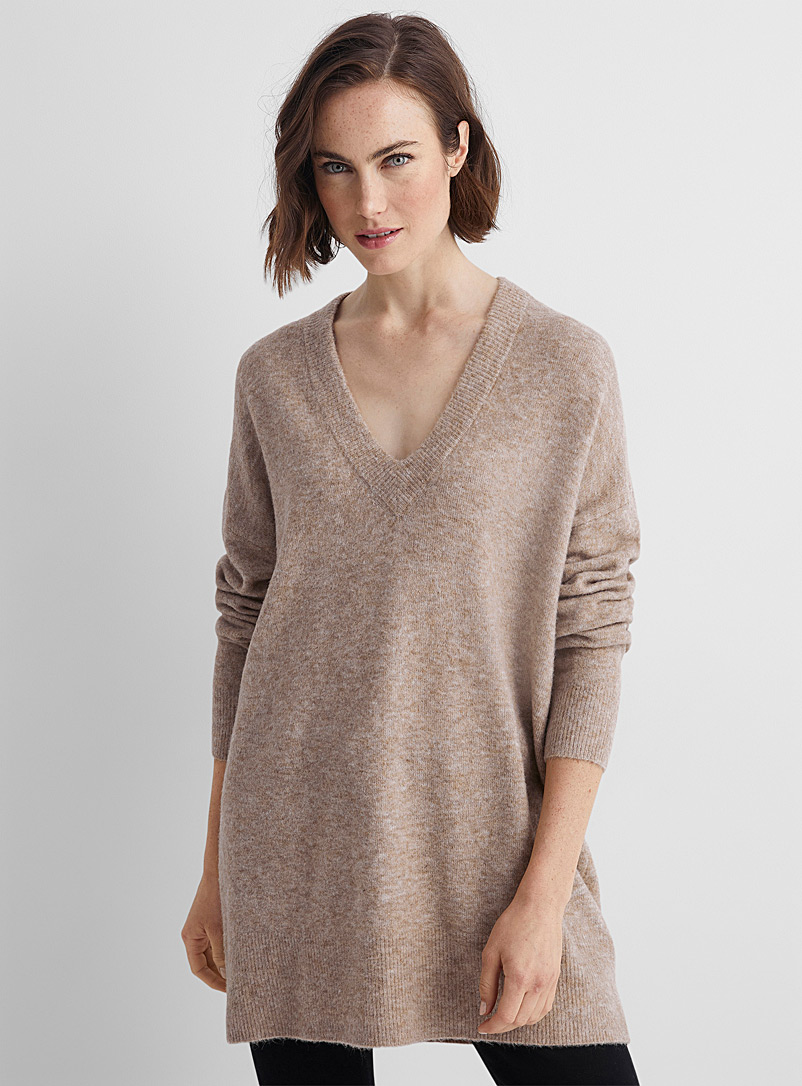 Contemporaine Light Brown V-neck brushed tunic sweater for women