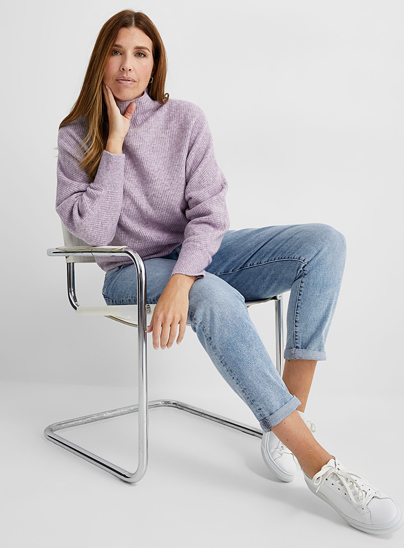 Contemporaine Lilacs Brushed ribbed funnel-neck sweater for women