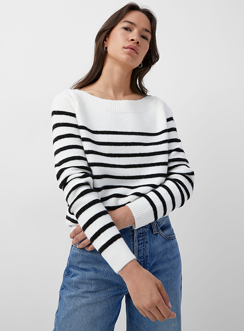 Contemporaine Ivory White Boatneck sailor sweater for women