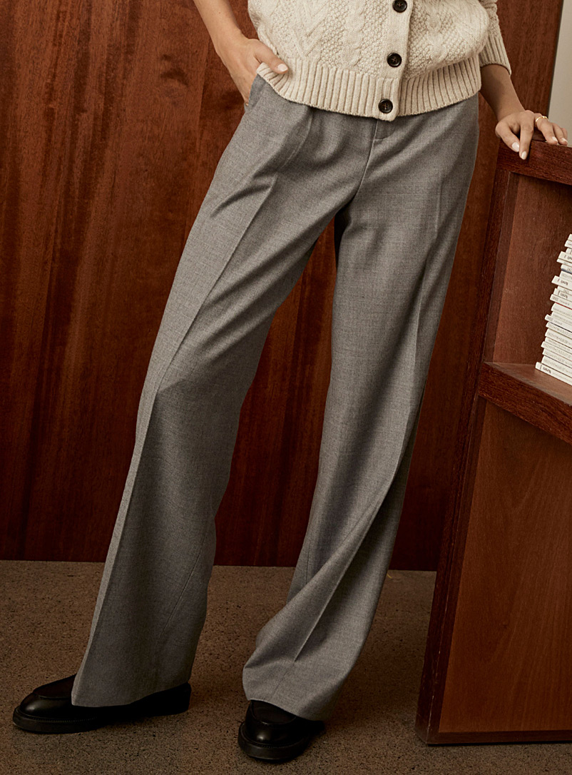Ash grey stretch wool wide-leg pant
