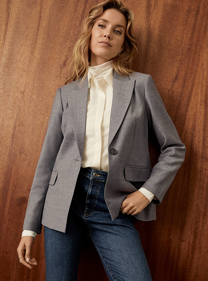 Contemporaine Light Grey Ash grey stretch wool blazer for women