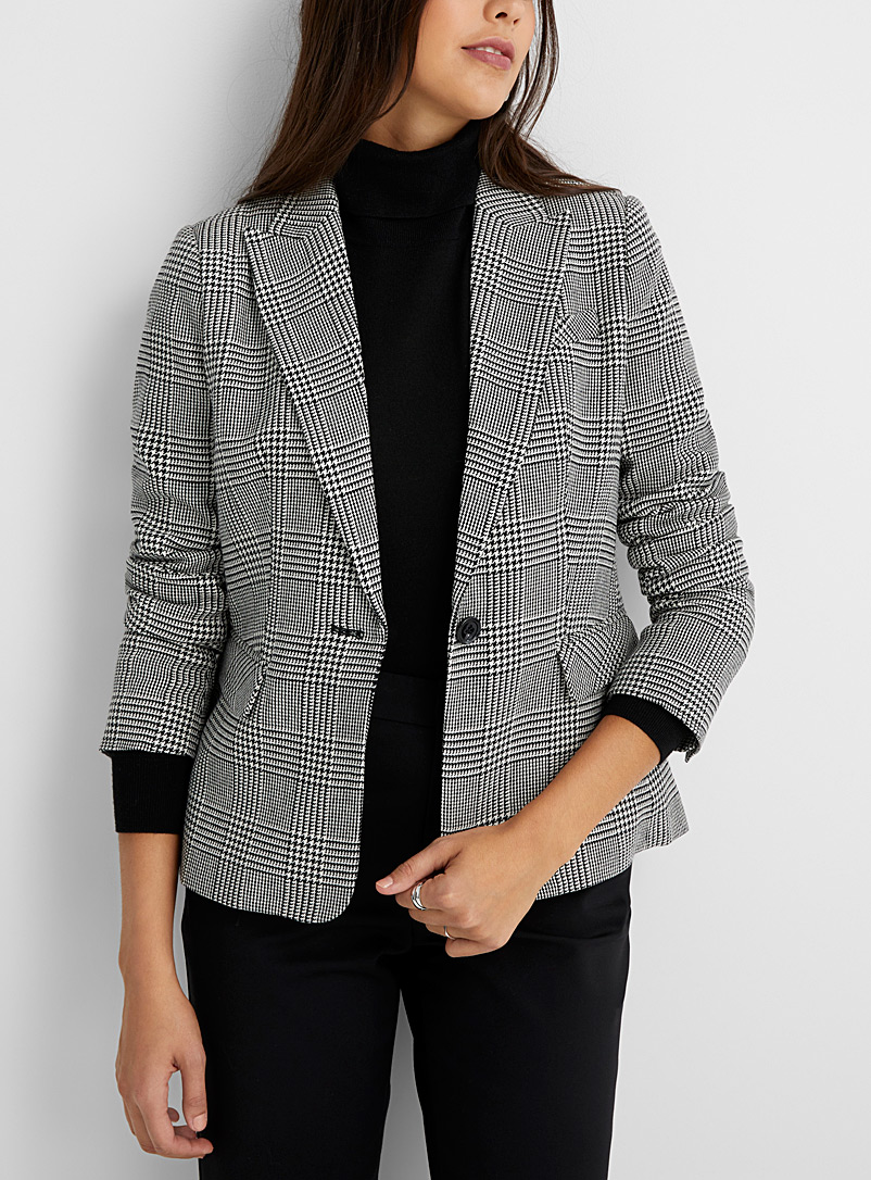 Contemporaine Black and White Prince of Wales jacket for women