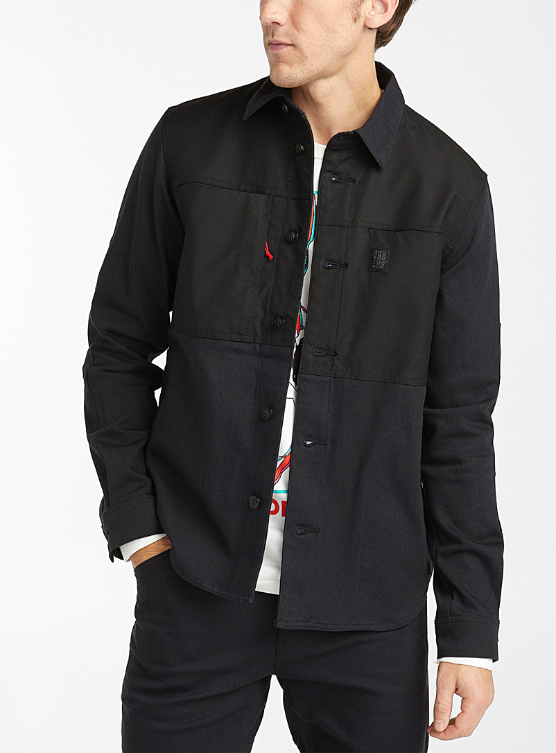 Twill and nylon block overshirt