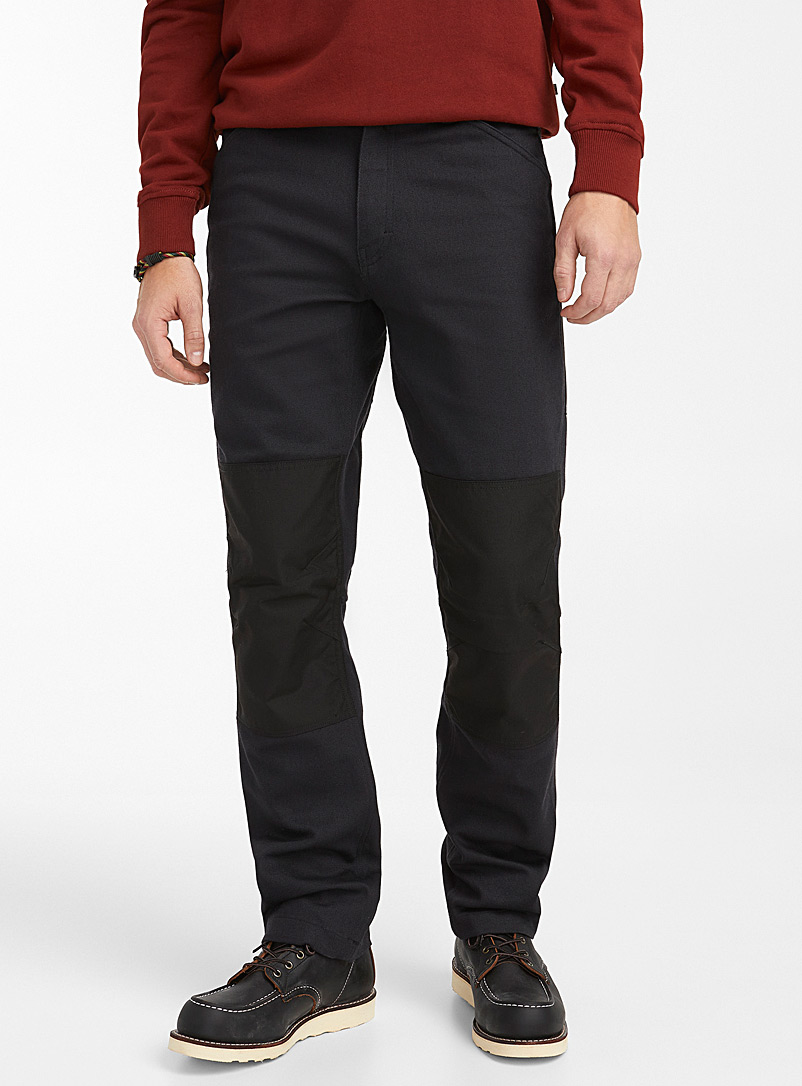 Nylon block and twill pant
