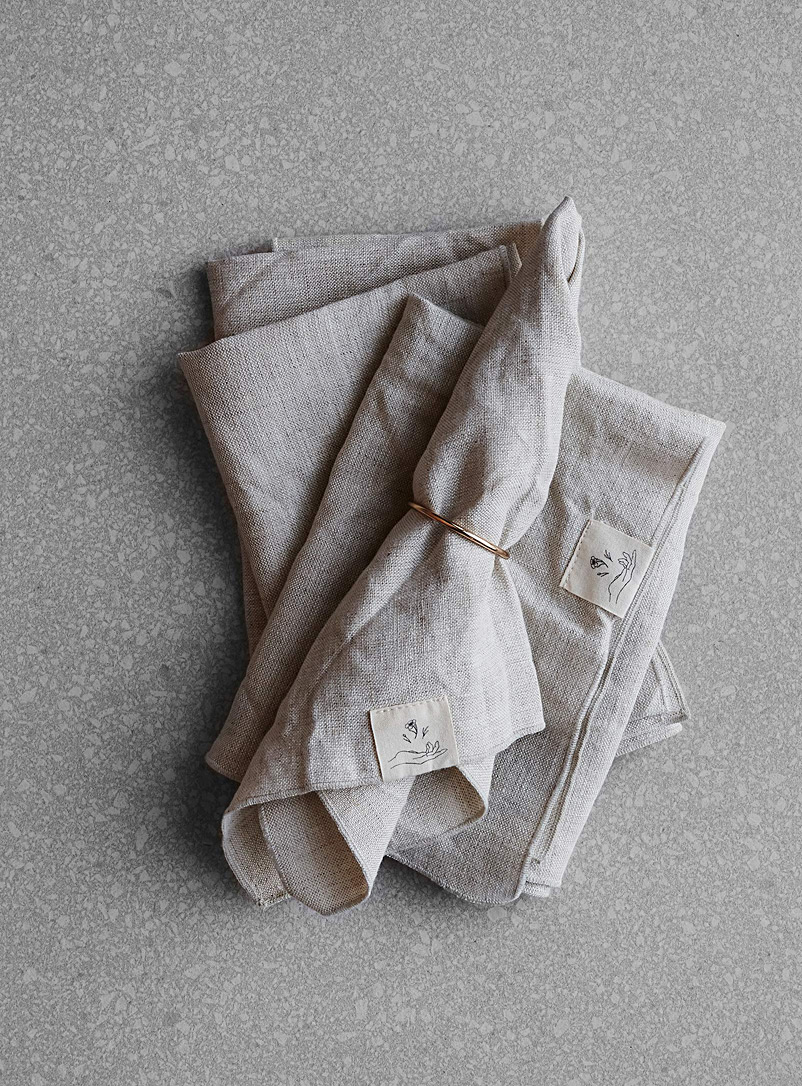 Confetti Mill Ecru/Linen Natural linen napkins  Set of 4