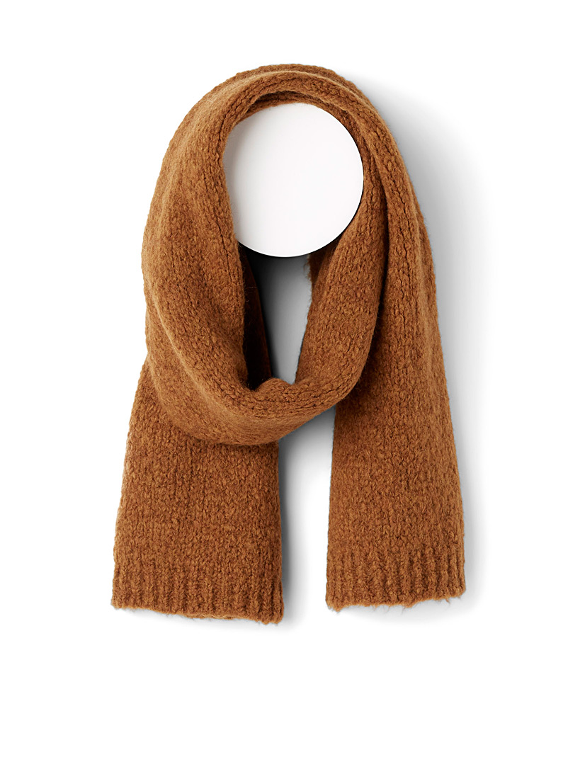 Simons Caramel Solid bouclé-knit scarf for women