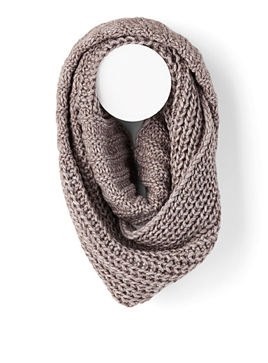 Simons Light Brown Two-way knit infinity scarf for women