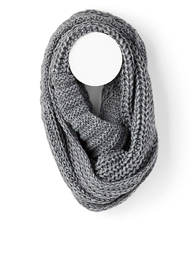 Simons Grey Two-way knit infinity scarf for women