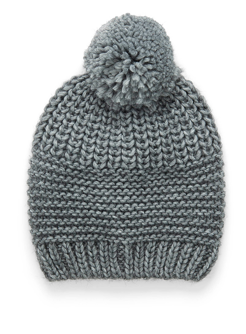 Two-way knit pompom tuque