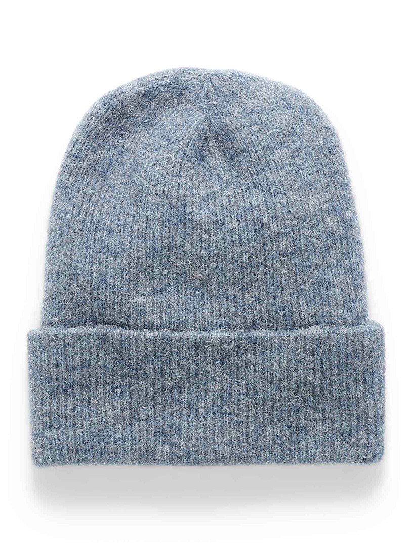 Simons Dark Blue Fuzzy alpaca knit tuque for women