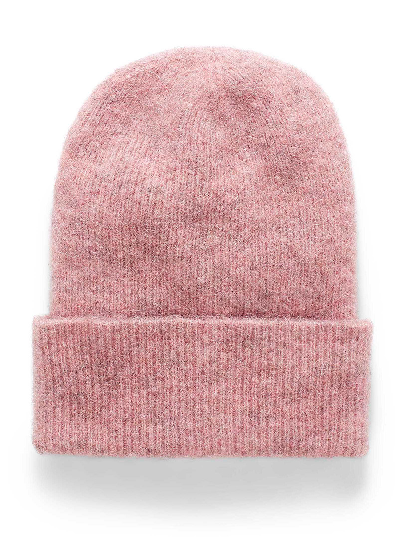 Simons Pink Fuzzy alpaca knit tuque for women