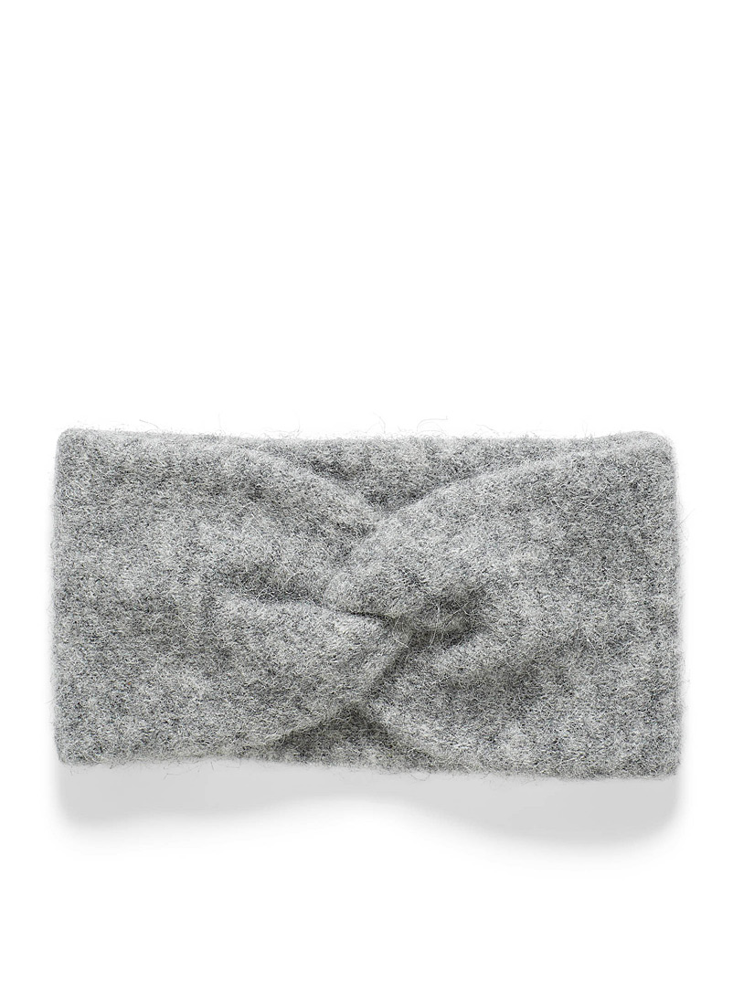 Simons Grey Fuzzy alpaca knit headband for women