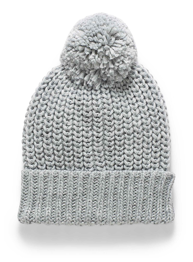 Simons Light Grey Colourful knit tuque for women
