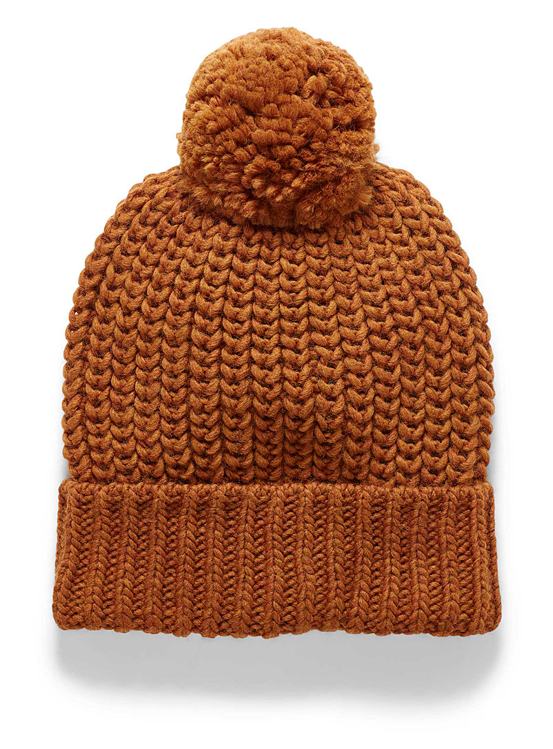 Simons Orange Colourful knit tuque for women
