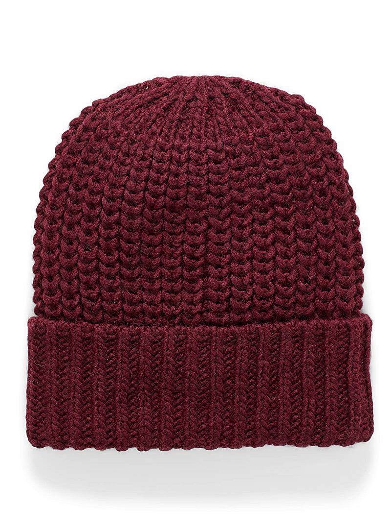 Simons Ruby Red Solid chunky-knit tuque for women