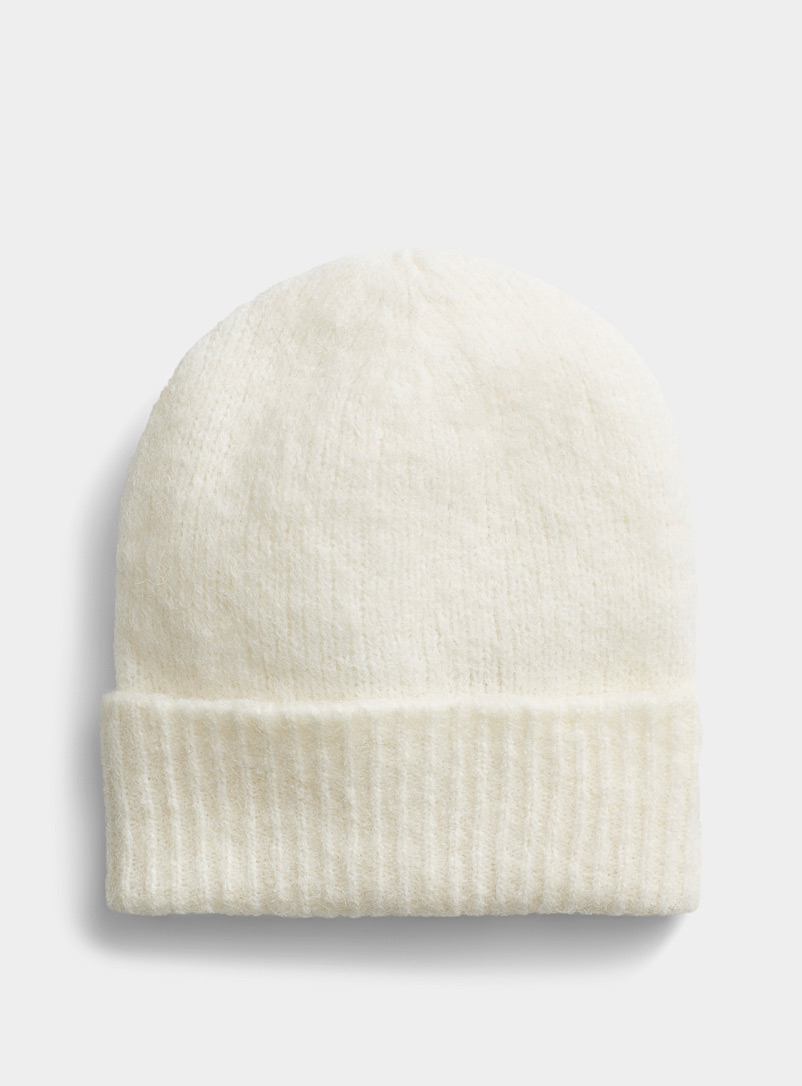 Simons Ivory White Solid alpaca wool tuque for women