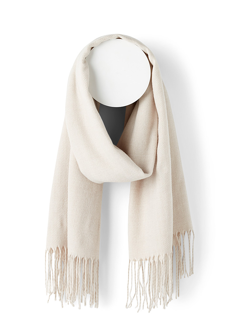 Simons Cream Beige Fringed solid scarf for women