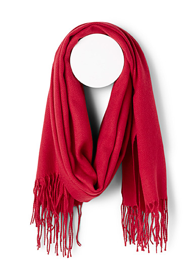 Simons Red Fringed solid scarf for women