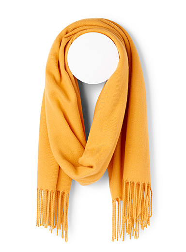 Simons Yellow Fringed solid scarf for women