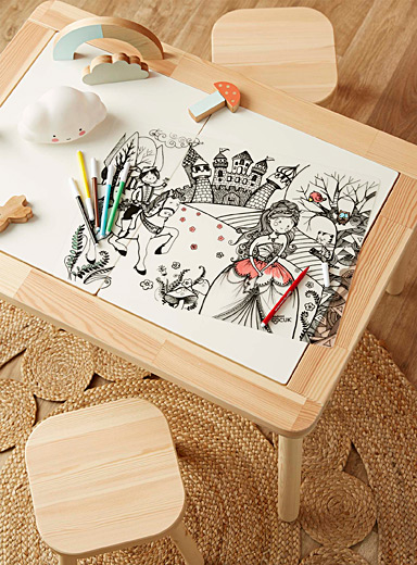 Funny Mat Black and White Prince and princess colour-in placemat