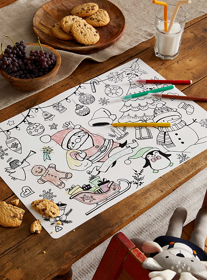 Funny Mat Black and White Santa's workshop colouring placemat